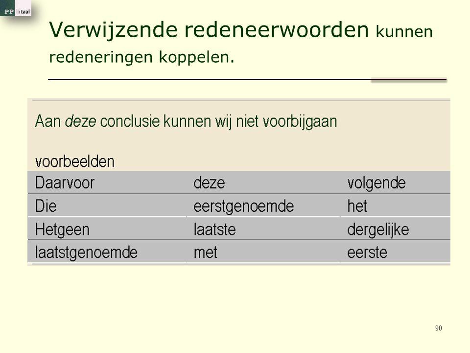 Verwijzende redeneerwoorden kunnen redeneringen koppelen. 90