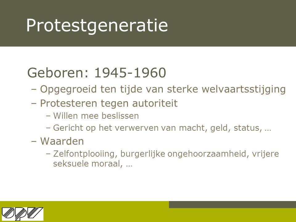 Protestgeneratie Geboren: 1945-1960 –Opgegroeid ten tijde van sterke welvaartsstijging –Protesteren tegen autoriteit –Willen mee beslissen –Gericht op