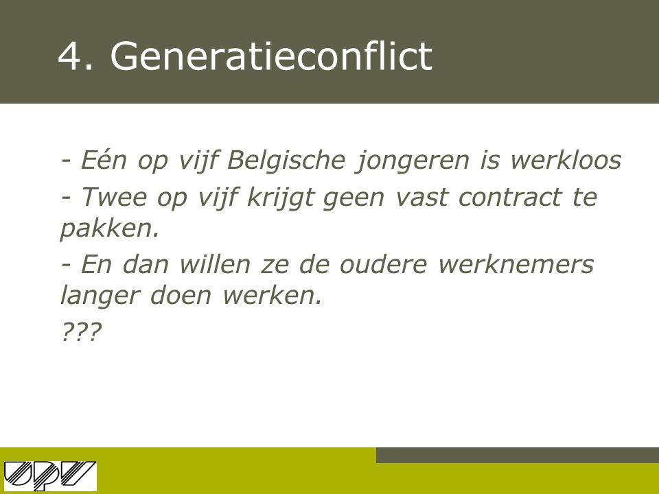4. Generatieconflict - Eén op vijf Belgische jongeren is werkloos - Twee op vijf krijgt geen vast contract te pakken. - En dan willen ze de oudere wer