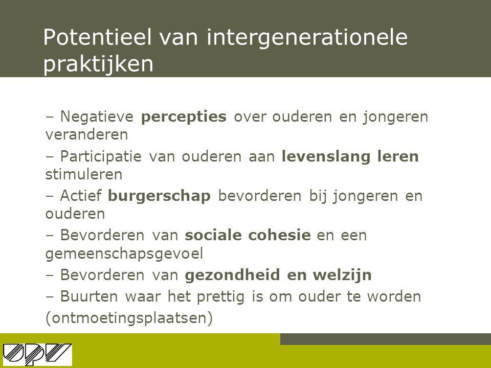 Potentieel van intergenerationele praktijken – Negatieve percepties over ouderen en jongeren veranderen – Participatie van ouderen aan levenslang lere