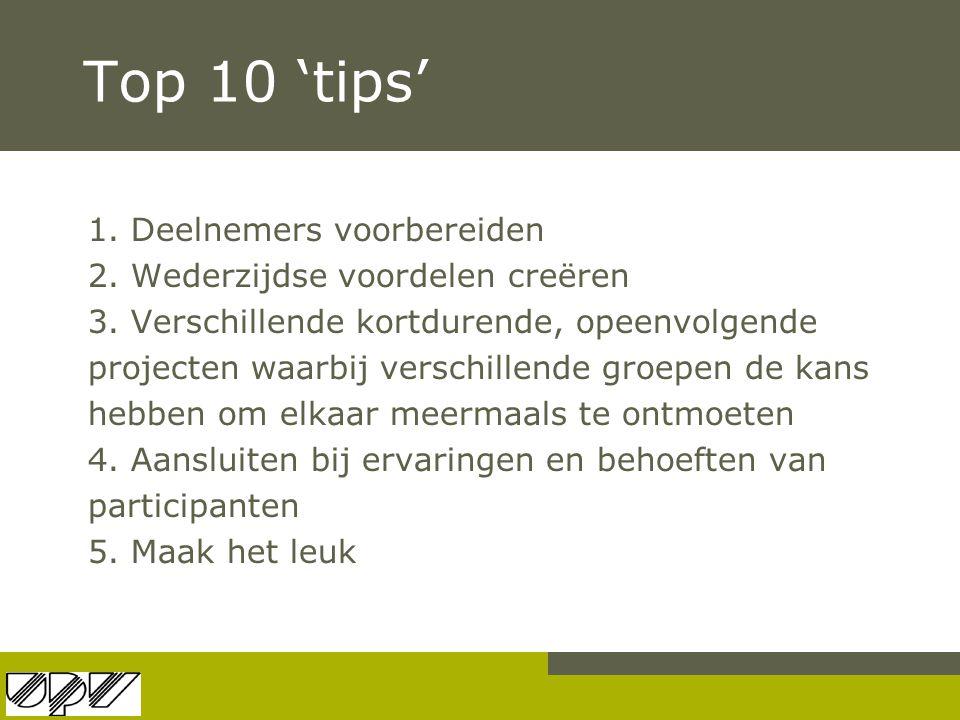 Top 10 'tips' 1. Deelnemers voorbereiden 2. Wederzijdse voordelen creëren 3. Verschillende kortdurende, opeenvolgende projecten waarbij verschillende