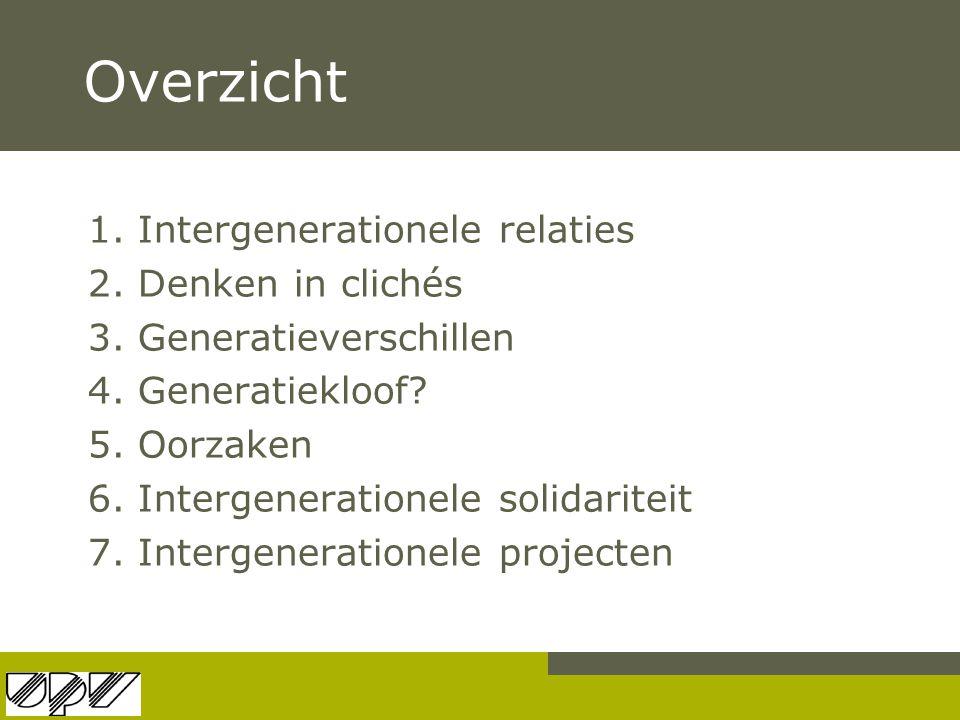 Overzicht 1. Intergenerationele relaties 2. Denken in clichés 3. Generatieverschillen 4. Generatiekloof? 5. Oorzaken 6. Intergenerationele solidaritei