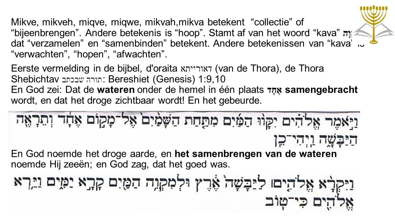 """Mikve, mikveh, miqve, miqwe, mikvah,mikva betekent """"collectie"""" of """"bijeenbrengen"""". Andere betekenis is """"hoop"""". Stamt af van het woord """"kava"""" קָוָה dat"""