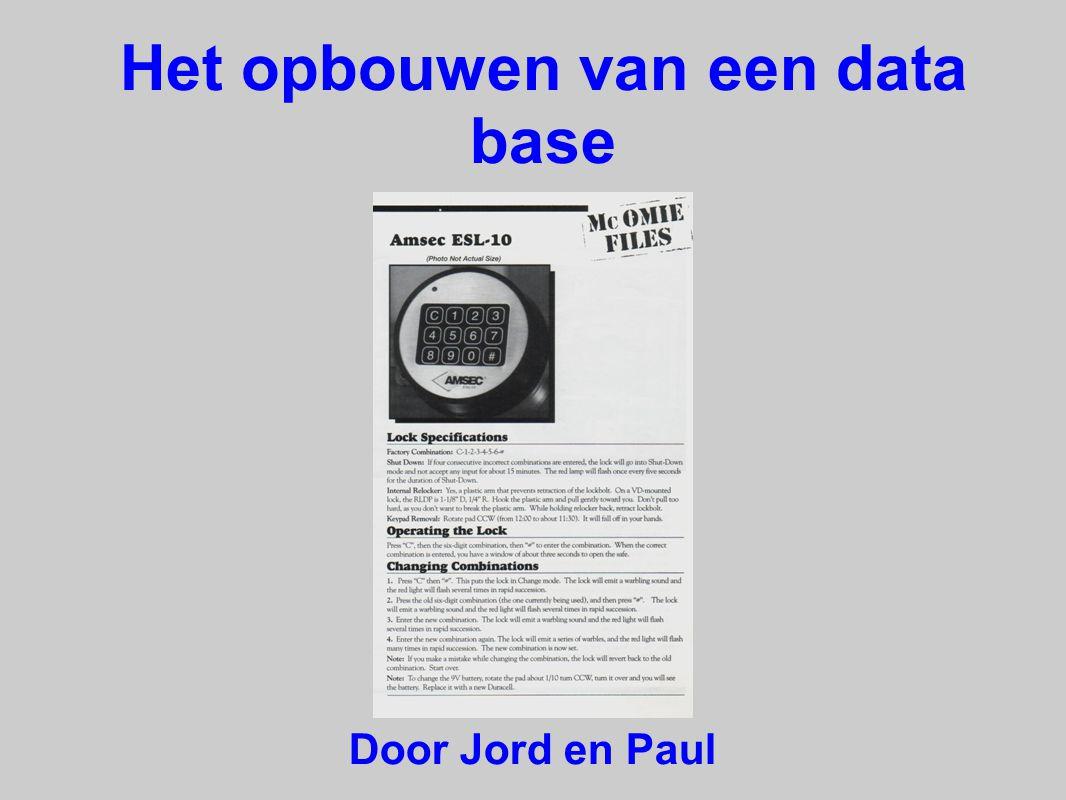 Het opbouwen van een data base Door Jord en Paul
