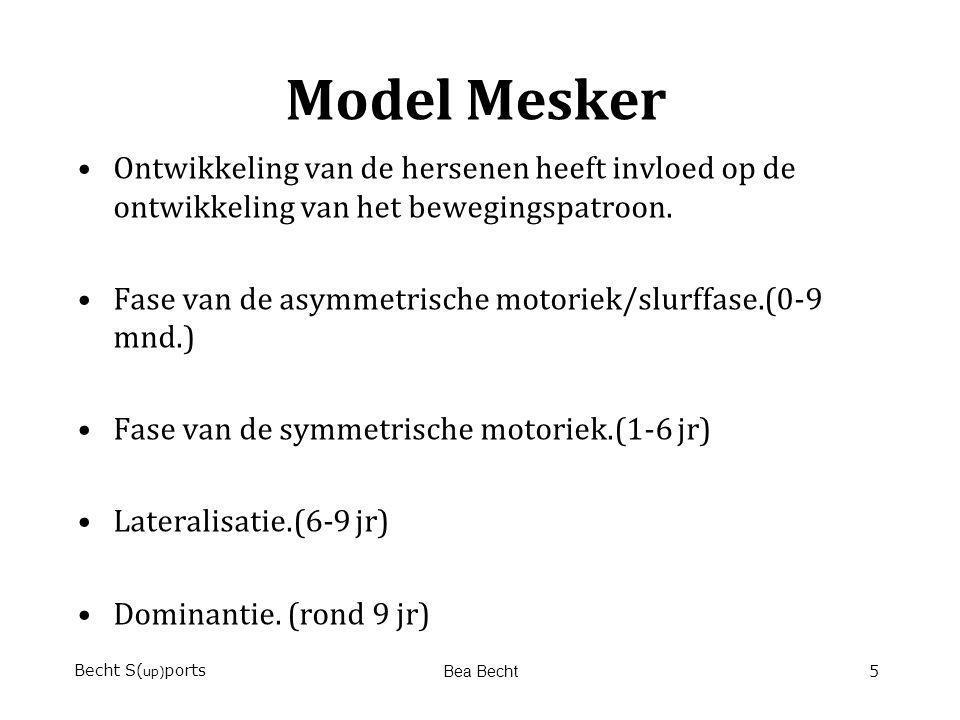 Model Mesker Ontwikkeling van de hersenen heeft invloed op de ontwikkeling van het bewegingspatroon. Fase van de asymmetrische motoriek/slurffase.(0-9