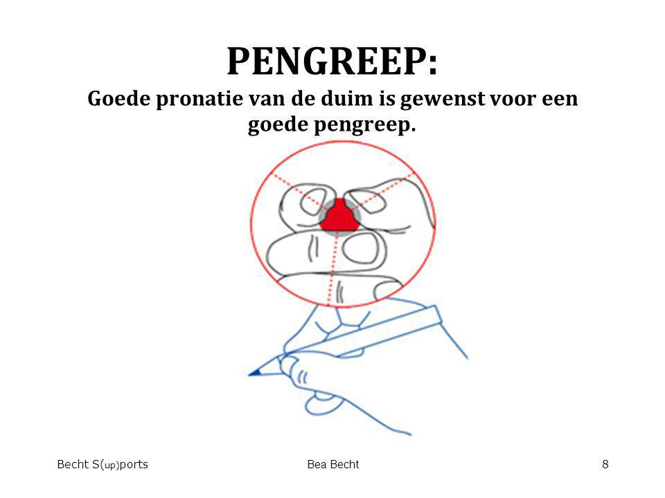 PENGREEP: Goede pronatie van de duim is gewenst voor een goede pengreep. Becht S( up) portsBea Becht8