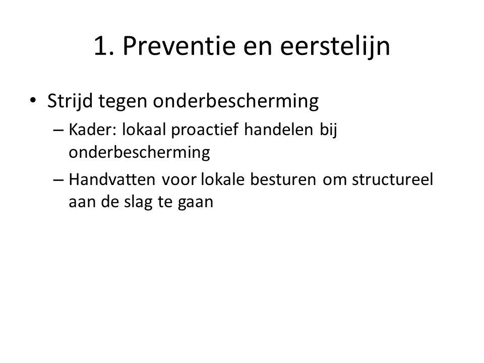 1. Preventie en eerstelijn Strijd tegen onderbescherming – Kader: lokaal proactief handelen bij onderbescherming – Handvatten voor lokale besturen om