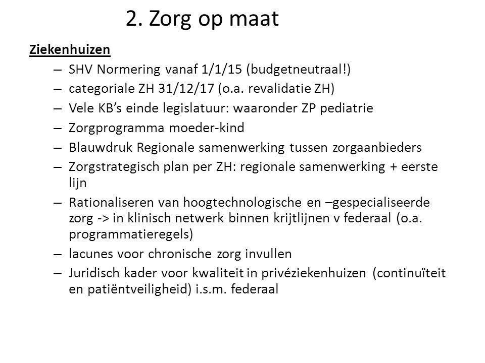 Ziekenhuizen – SHV Normering vanaf 1/1/15 (budgetneutraal!) – categoriale ZH 31/12/17 (o.a. revalidatie ZH) – Vele KB's einde legislatuur: waaronder Z