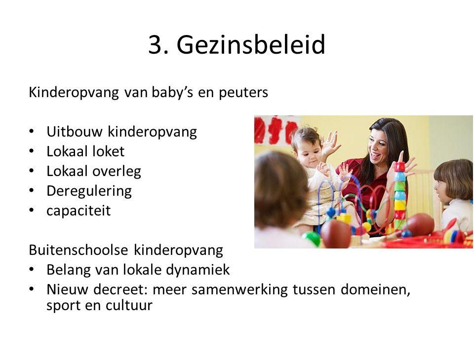 3. Gezinsbeleid Kinderopvang van baby's en peuters Uitbouw kinderopvang Lokaal loket Lokaal overleg Deregulering capaciteit Buitenschoolse kinderopvan