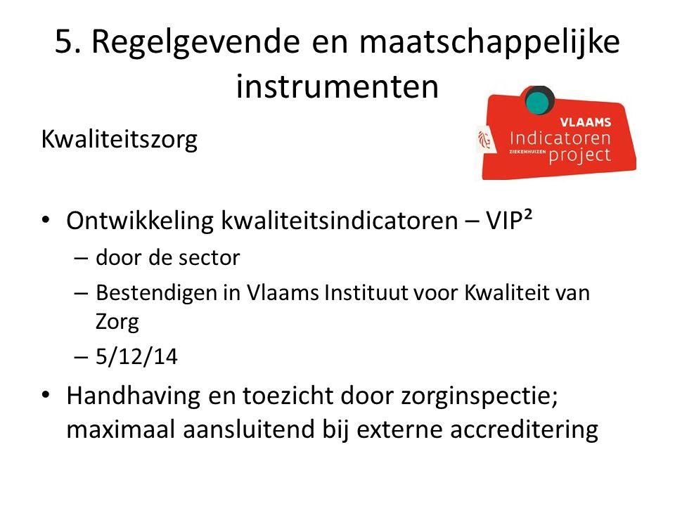5. Regelgevende en maatschappelijke instrumenten Kwaliteitszorg Ontwikkeling kwaliteitsindicatoren – VIP² – door de sector – Bestendigen in Vlaams Ins
