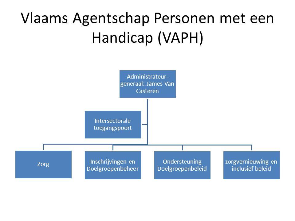 Vlaams Agentschap Personen met een Handicap (VAPH) Administrateur- generaal: James Van Casteren Zorg Inschrijvingen en Doelgroepenbeheer Ondersteuning