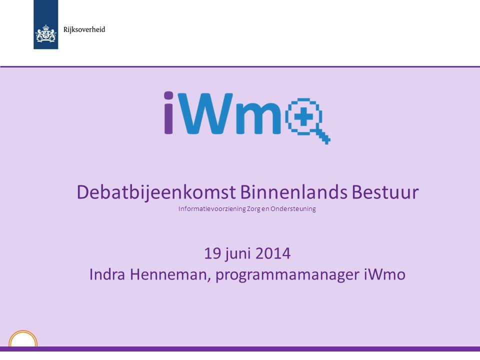 Debatbijeenkomst Binnenlands Bestuur Informatievoorziening Zorg en Ondersteuning 19 juni 2014 Indra Henneman, programmamanager iWmo