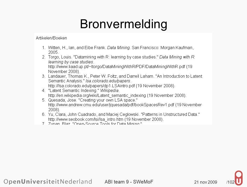 21 nov 2009 /103 Bronvermelding één document