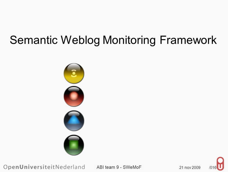 21 nov 2009 /016 Semantic Weblog Monitoring Framework