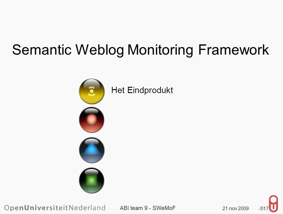 21 nov 2009 /018 Semantic Weblog Monitoring Framework Het Eindprodukt Ervaringen van het team (ABI team 9)