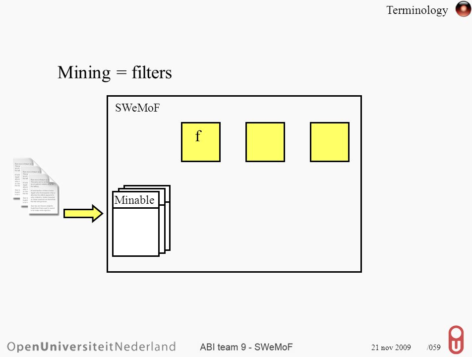 21 nov 2009 /059 Mining = filters SWeMoF f Minable Terminology