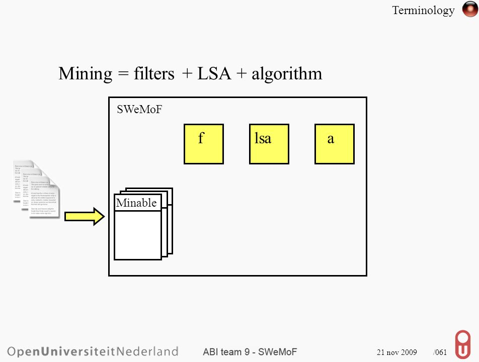 21 nov 2009 /062 Mining = filters + LSA + algorithm SWeMoF flsaa Minable Terminology