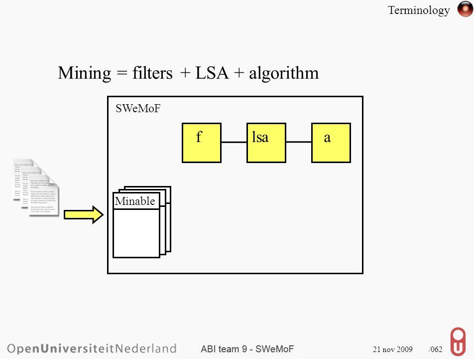 21 nov 2009 /063 Mining = filters + LSA + algorithm SWeMoF flsaa Minable Terminology