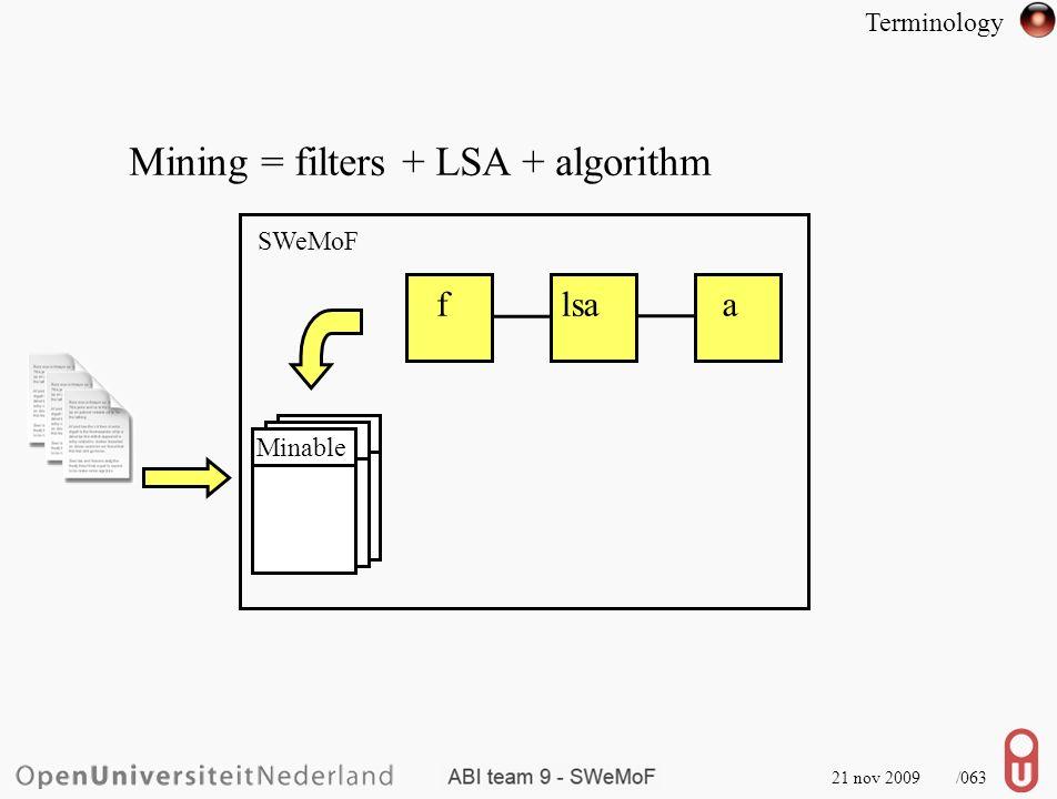21 nov 2009 /064 Mining = filters + LSA + algorithm SWeMoF flsaa Minable Terminology C.C.R.