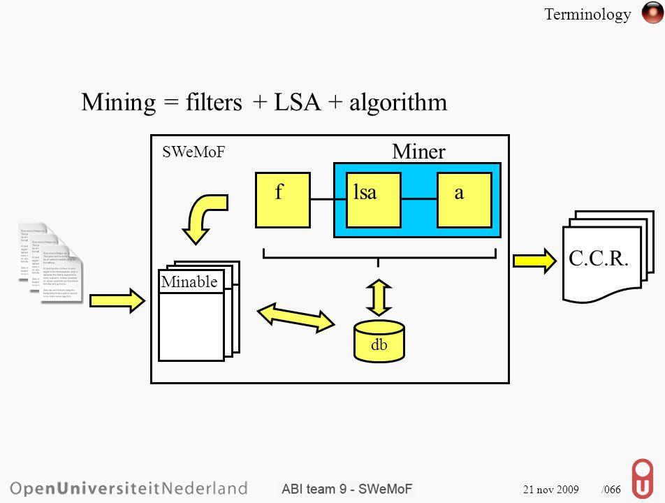 21 nov 2009 /067 Mining = Terminology