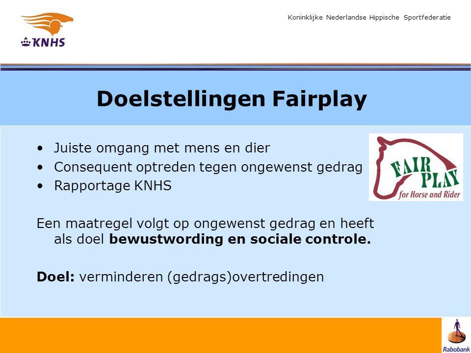 Koninklijke Nederlandse Hippische Sportfederatie Doelstellingen Fairplay Juiste omgang met mens en dier Consequent optreden tegen ongewenst gedrag Rap