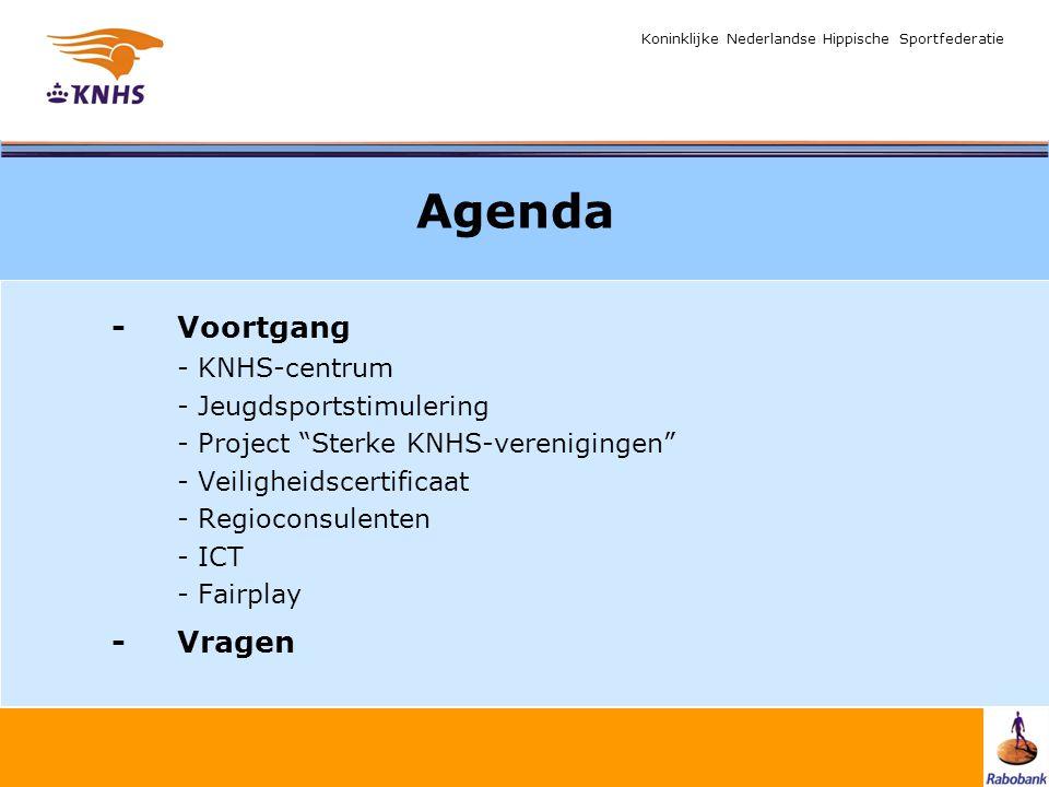 "Koninklijke Nederlandse Hippische Sportfederatie Agenda -Voortgang - KNHS-centrum - Jeugdsportstimulering - Project ""Sterke KNHS-verenigingen"" - Veili"