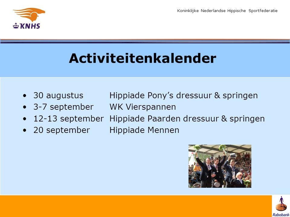 Koninklijke Nederlandse Hippische Sportfederatie Activiteitenkalender 30 augustus Hippiade Pony's dressuur & springen 3-7 september WK Vierspannen 12-13 septemberHippiade Paarden dressuur & springen 20 september Hippiade Mennen
