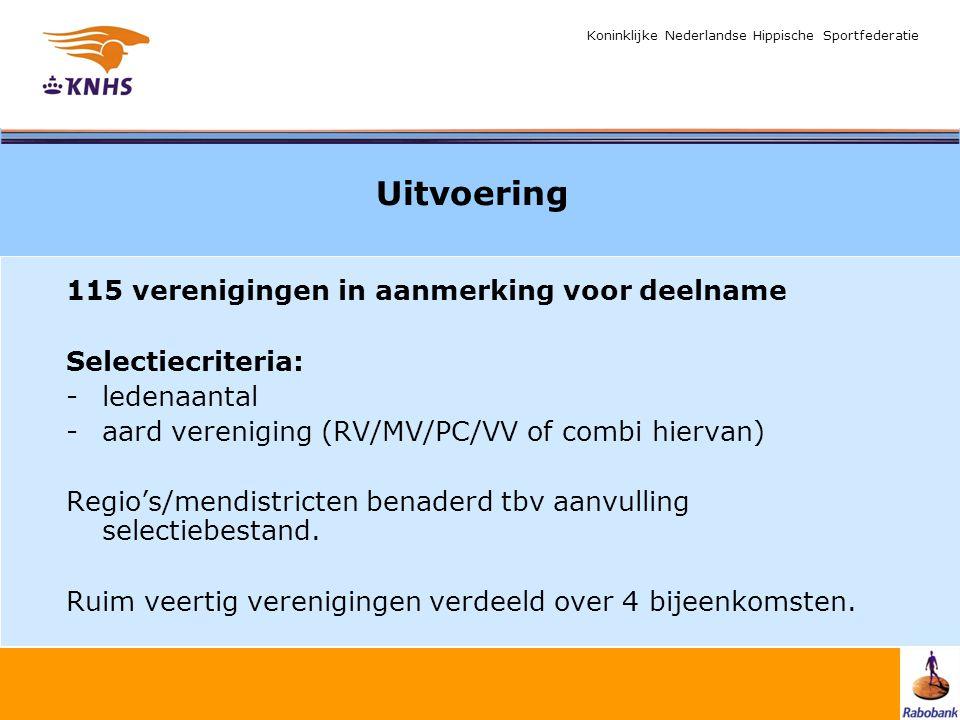 Koninklijke Nederlandse Hippische Sportfederatie Uitvoering 115 verenigingen in aanmerking voor deelname Selectiecriteria: -ledenaantal -aard vereniging (RV/MV/PC/VV of combi hiervan) Regio's/mendistricten benaderd tbv aanvulling selectiebestand.