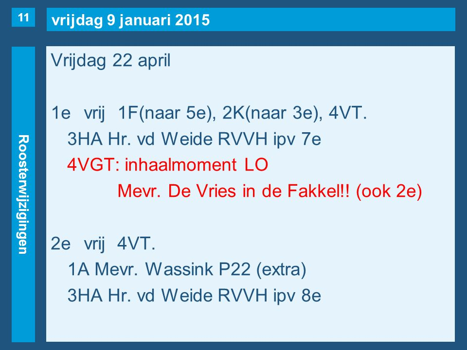 vrijdag 9 januari 2015 Roosterwijzigingen Vrijdag 22 april 1evrij1F(naar 5e), 2K(naar 3e), 4VT.