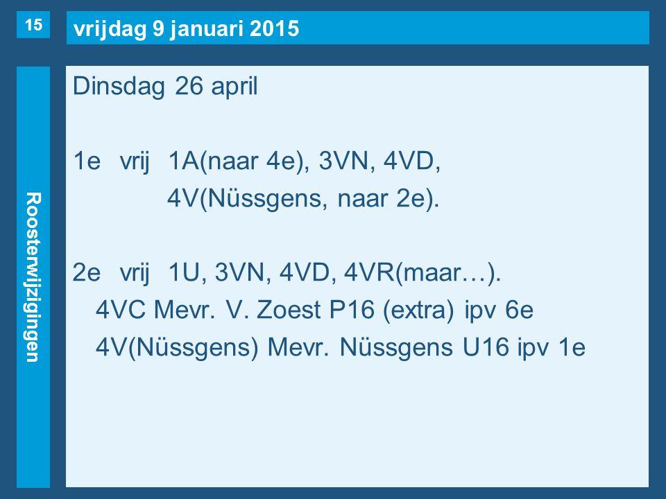 vrijdag 9 januari 2015 Roosterwijzigingen Dinsdag 26 april 1evrij1A(naar 4e), 3VN, 4VD, 4V(Nüssgens, naar 2e).