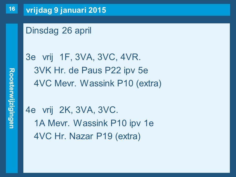 vrijdag 9 januari 2015 Roosterwijzigingen Dinsdag 26 april 3evrij1F, 3VA, 3VC, 4VR.