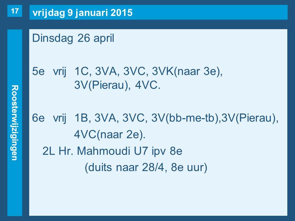 vrijdag 9 januari 2015 Roosterwijzigingen Dinsdag 26 april 5evrij1C, 3VA, 3VC, 3VK(naar 3e), 3V(Pierau), 4VC. 6evrij1B, 3VA, 3VC, 3V(bb-me-tb),3V(Pier