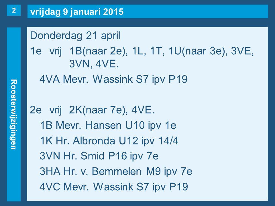 vrijdag 9 januari 2015 Roosterwijzigingen Donderdag 21 april 1evrij1B(naar 2e), 1L, 1T, 1U(naar 3e), 3VE, 3VN, 4VE.