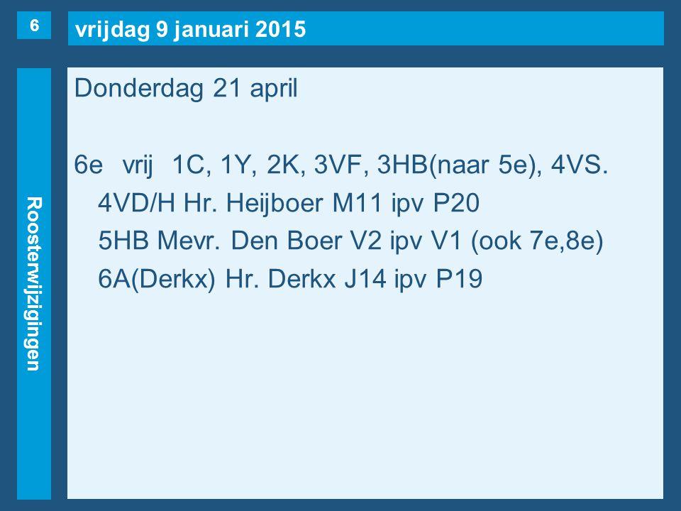 vrijdag 9 januari 2015 Roosterwijzigingen Donderdag 21 april 6evrij1C, 1Y, 2K, 3VF, 3HB(naar 5e), 4VS. 4VD/H Hr. Heijboer M11 ipv P20 5HB Mevr. Den Bo