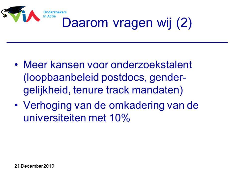 21 December 2010 Daarom vragen wij (2) Meer kansen voor onderzoekstalent (loopbaanbeleid postdocs, gender- gelijkheid, tenure track mandaten) Verhoging van de omkadering van de universiteiten met 10%