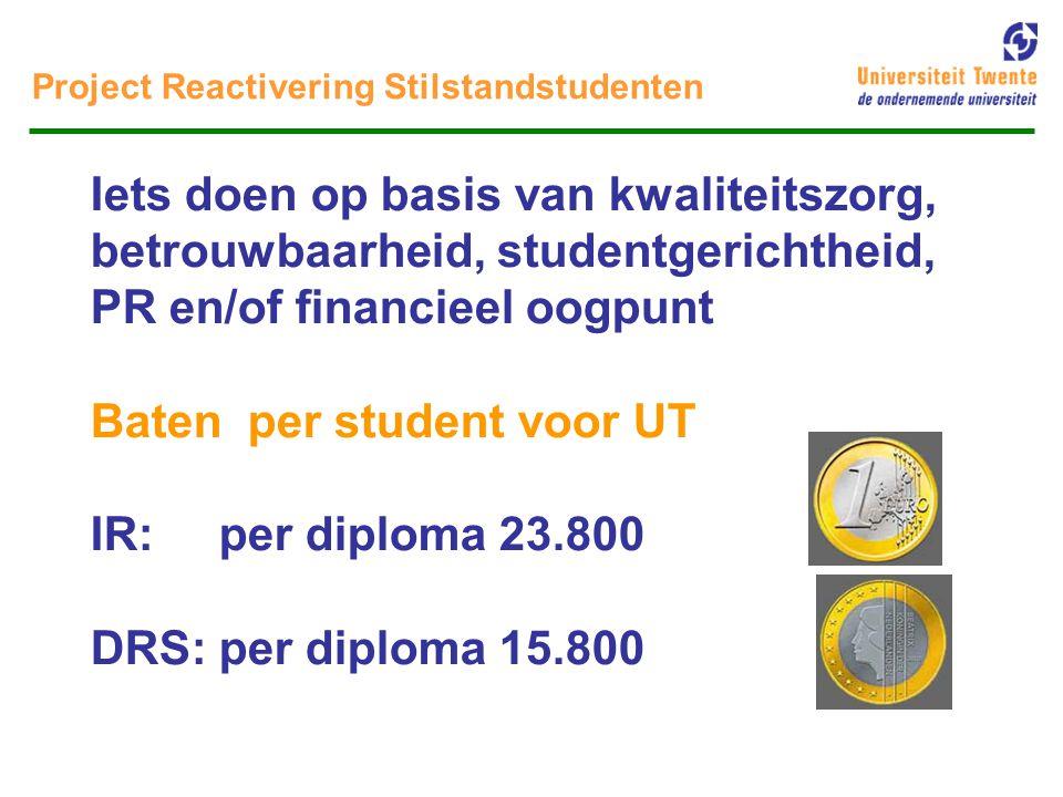 Project Reactivering Stilstandstudenten Doel 1) Het op systematische wijze ondersteunen van opleidingen bij het reactiveren van stilstandstudenten, via overzichten Per kwartaal overzicht van studenten die gedurende 18 maanden < 14 sp / aug 2002 Nb.