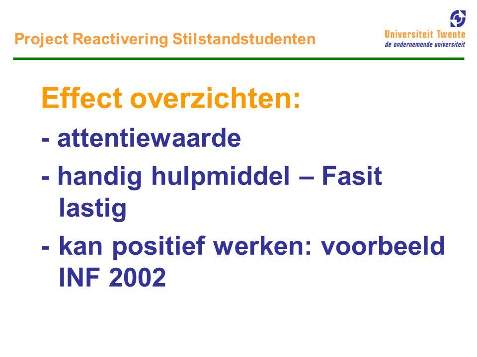 Project Reactivering Stilstandstudenten * Cijfers INF 2002 – aantallen studenten actief benaderd, excl.