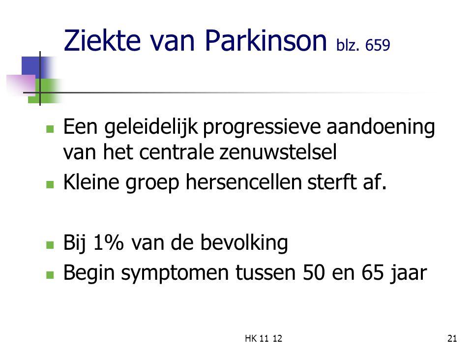 Ziekte van Parkinson blz. 659 Een geleidelijk progressieve aandoening van het centrale zenuwstelsel Kleine groep hersencellen sterft af. Bij 1% van de