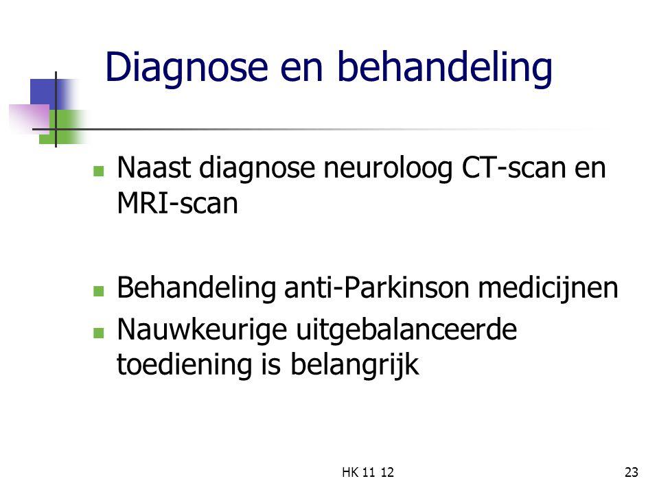 Diagnose en behandeling Naast diagnose neuroloog CT-scan en MRI-scan Behandeling anti-Parkinson medicijnen Nauwkeurige uitgebalanceerde toediening is belangrijk 23HK 11 12