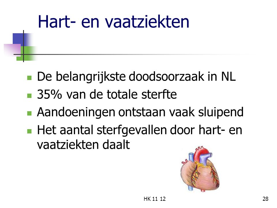 Hart- en vaatziekten De belangrijkste doodsoorzaak in NL 35% van de totale sterfte Aandoeningen ontstaan vaak sluipend Het aantal sterfgevallen door hart- en vaatziekten daalt 28HK 11 12