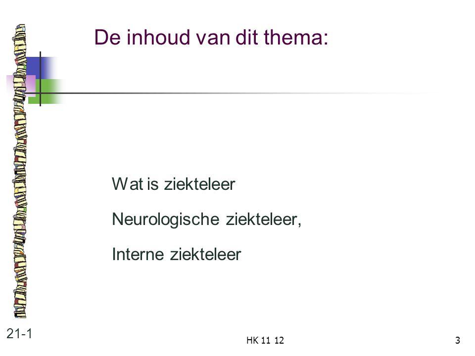 De inhoud van dit thema: 21-1 Wat is ziekteleer Neurologische ziekteleer, Interne ziekteleer 3HK 11 12