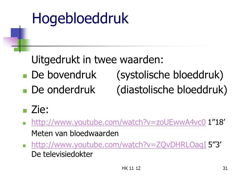 Hogebloeddruk Uitgedrukt in twee waarden: De bovendruk (systolische bloeddruk) De onderdruk (diastolische bloeddruk) Zie: http://www.youtube.com/watch?v=zoUEwwA4vc0 1 18' http://www.youtube.com/watch?v=zoUEwwA4vc0 Meten van bloedwaarden http://www.youtube.com/watch?v=ZQvDHRLOaqI 5 3' De televisiedokter http://www.youtube.com/watch?v=ZQvDHRLOaqI 31HK 11 12