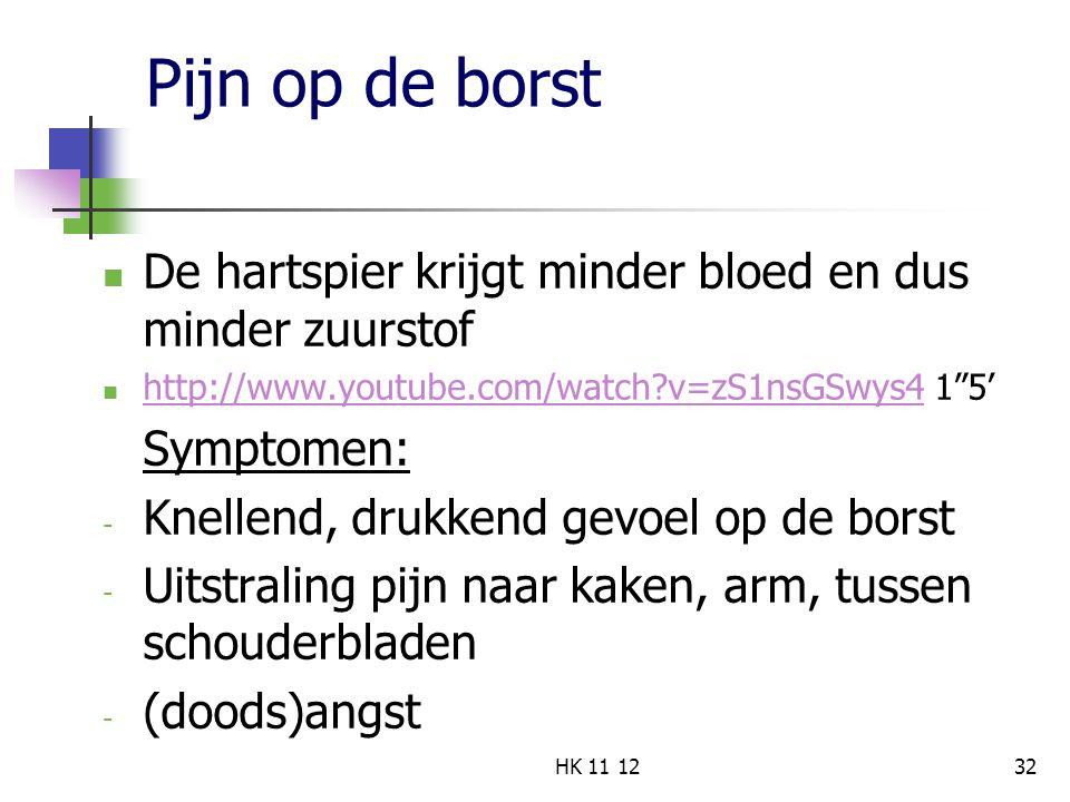 """Pijn op de borst De hartspier krijgt minder bloed en dus minder zuurstof http://www.youtube.com/watch?v=zS1nsGSwys4 1""""5' http://www.youtube.com/watch?"""