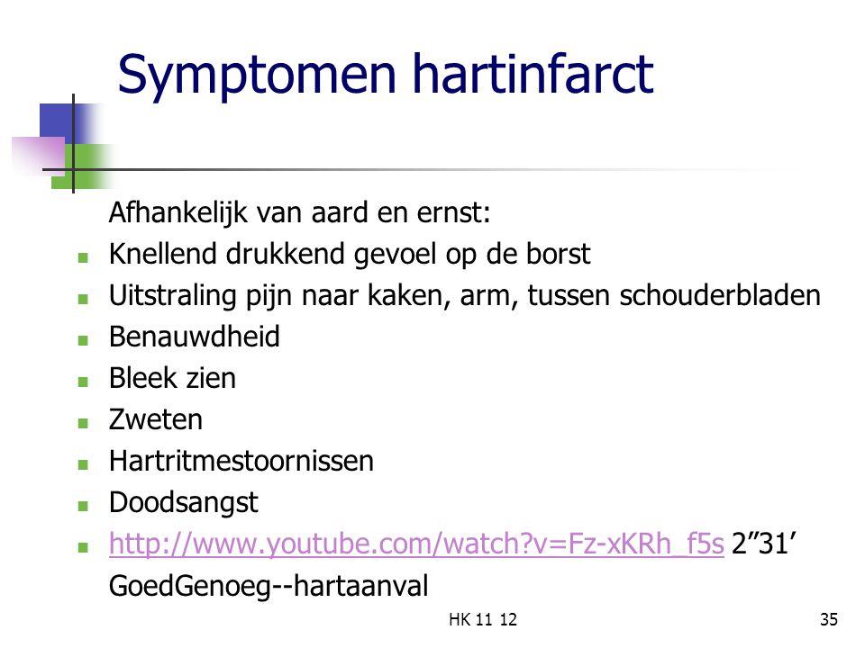Symptomen hartinfarct Afhankelijk van aard en ernst: Knellend drukkend gevoel op de borst Uitstraling pijn naar kaken, arm, tussen schouderbladen Benauwdheid Bleek zien Zweten Hartritmestoornissen Doodsangst http://www.youtube.com/watch?v=Fz-xKRh_f5s 2 31' http://www.youtube.com/watch?v=Fz-xKRh_f5s GoedGenoeg--hartaanval 35HK 11 12