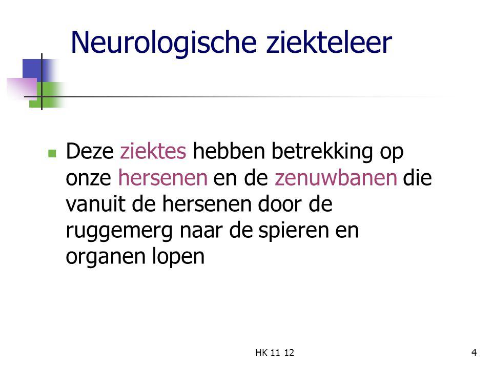 Neurologische ziekteleer Deze ziektes hebben betrekking op onze hersenen en de zenuwbanen die vanuit de hersenen door de ruggemerg naar de spieren en organen lopen 4HK 11 12