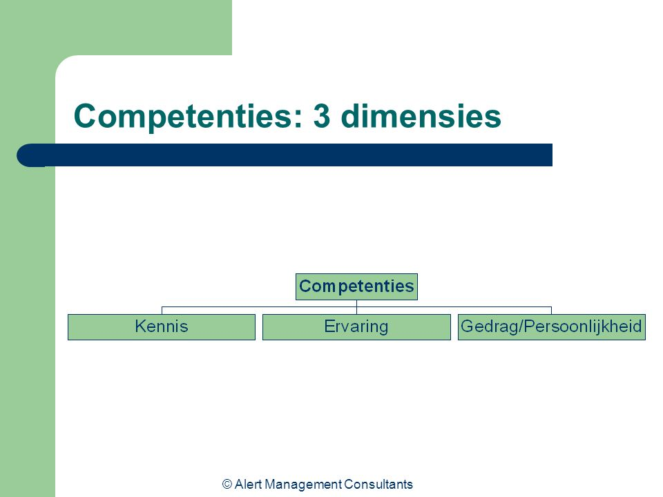 © Alert Management Consultants Competenties: 3 dimensies