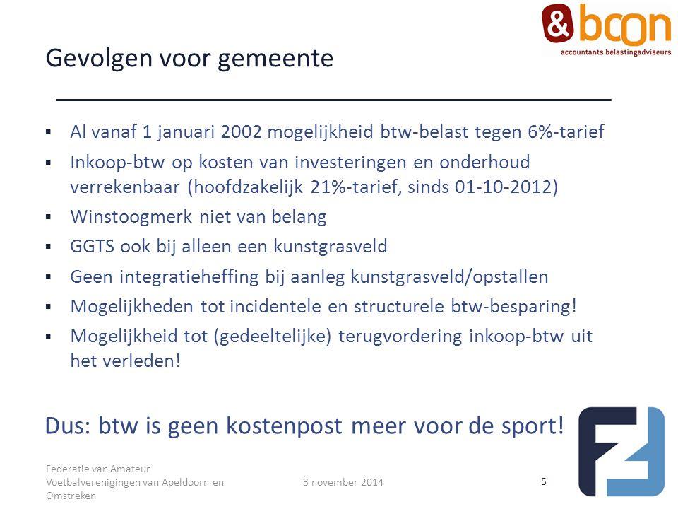 Gevolgen voor gemeente  Al vanaf 1 januari 2002 mogelijkheid btw-belast tegen 6%-tarief  Inkoop-btw op kosten van investeringen en onderhoud verreke