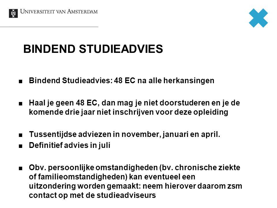 BINDEND STUDIEADVIES Bindend Studieadvies: 48 EC na alle herkansingen Haal je geen 48 EC, dan mag je niet doorstuderen en je de komende drie jaar niet