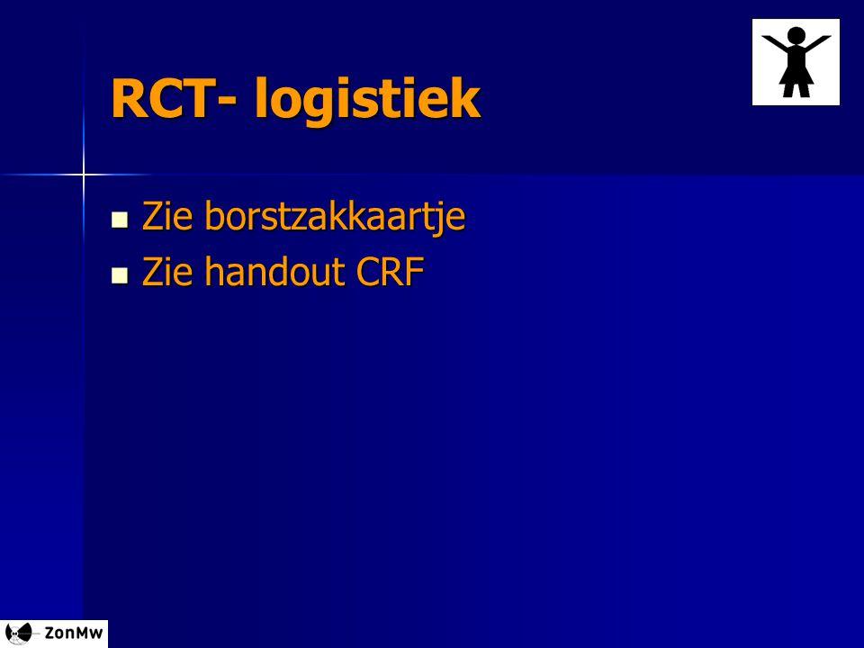 RCT- logistiek Zie borstzakkaartje Zie borstzakkaartje Zie handout CRF Zie handout CRF