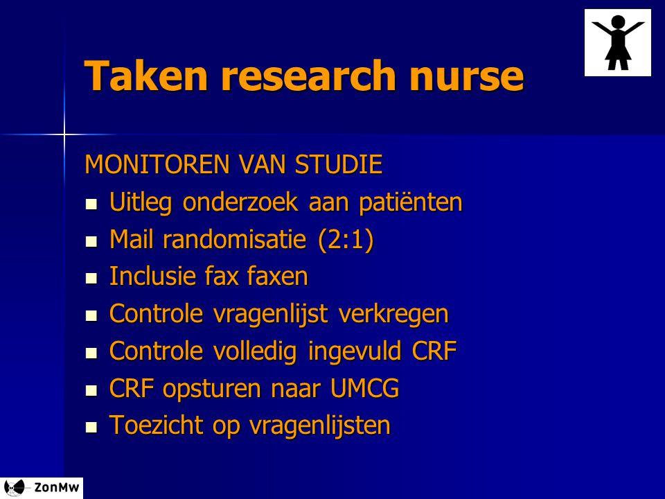 Taken research nurse MONITOREN VAN STUDIE Uitleg onderzoek aan patiënten Uitleg onderzoek aan patiënten Mail randomisatie (2:1) Mail randomisatie (2:1